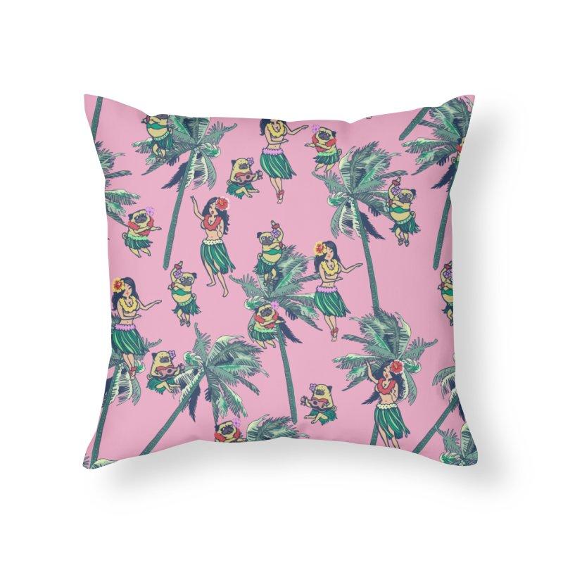 Hawaii Hula with The Pug Home Throw Pillow by huebucket's Artist Shop