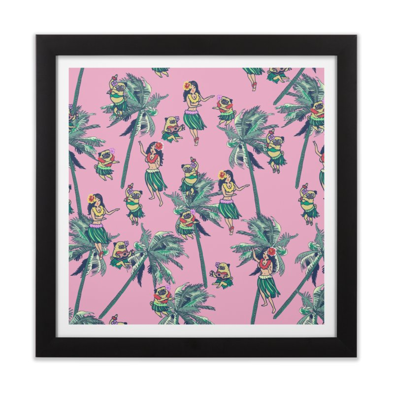 Hawaii Hula with The Pug Home Framed Fine Art Print by huebucket's Artist Shop
