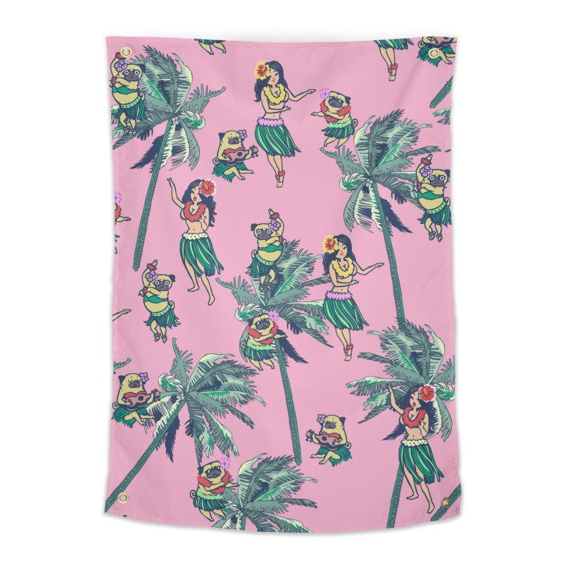 Hawaii Hula with The Pug Home Tapestry by huebucket's Artist Shop
