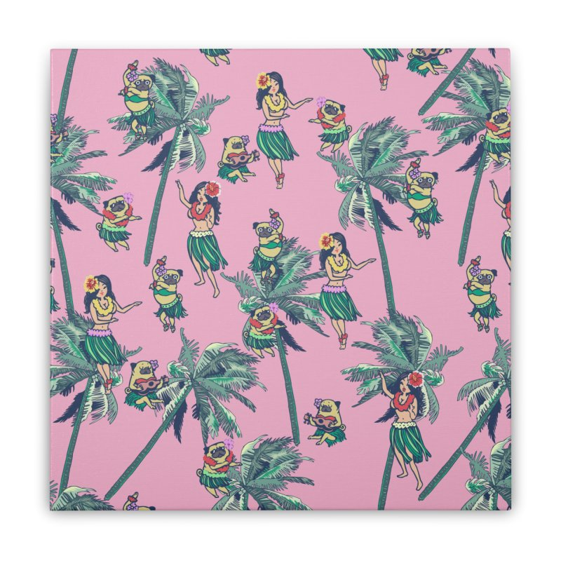 Hawaii Hula with The Pug Home Stretched Canvas by huebucket's Artist Shop