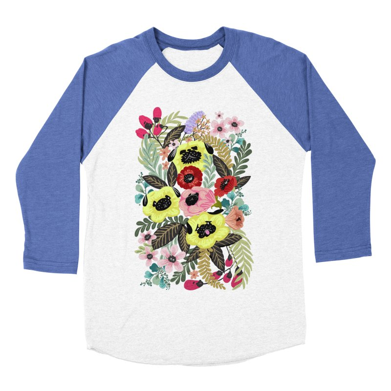 Flower Pugs Men's Baseball Triblend T-Shirt by huebucket's Artist Shop