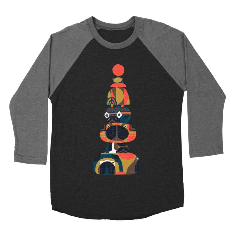 Tower of Pugs Men's Baseball Triblend T-Shirt by huebucket's Artist Shop