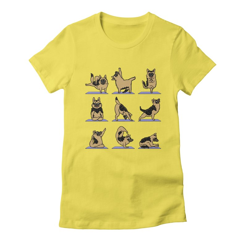German Shepherd Yoga Women's Fitted T-Shirt by huebucket's Artist Shop