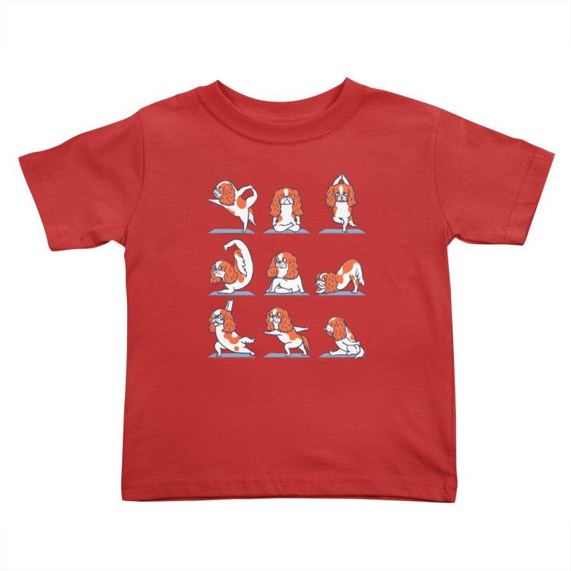Cavalier King Charles Spaniel Yoga Kids Toddler T-Shirt by huebucket's Artist Shop