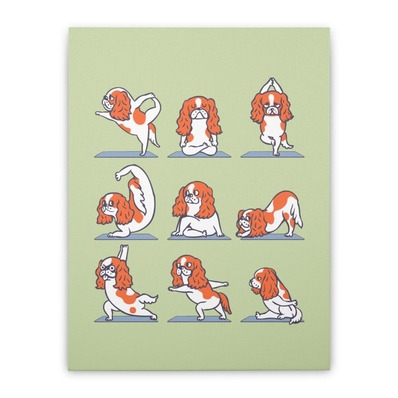 Cavalier King Charles Spaniel Yoga Home Stretched Canvas by huebucket's Artist Shop