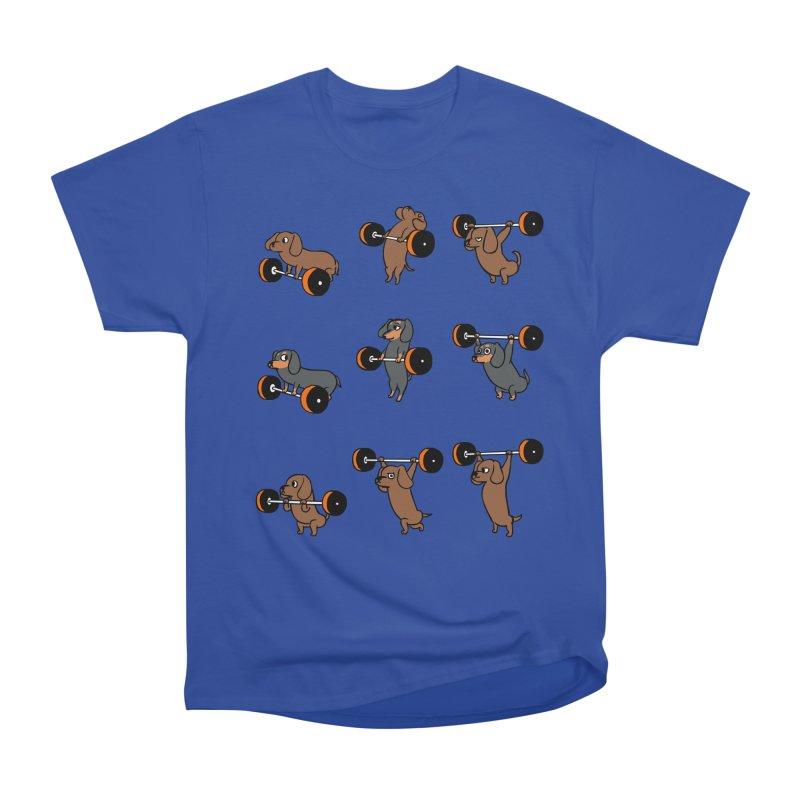Olympic Lifting Dachshund Women's Heavyweight Unisex T-Shirt by huebucket's Artist Shop