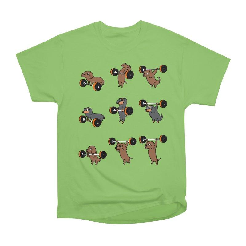 Olympic Lifting Dachshund Men's Heavyweight T-Shirt by huebucket's Artist Shop