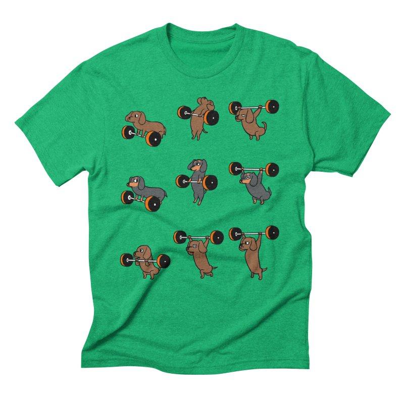 Olympic Lifting Dachshund Men's Triblend T-Shirt by huebucket's Artist Shop