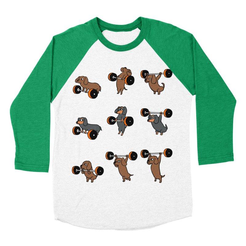 Olympic Lifting Dachshund Women's Baseball Triblend Longsleeve T-Shirt by huebucket's Artist Shop