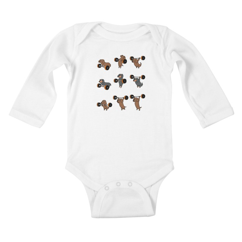 Olympic Lifting Dachshund Kids Baby Longsleeve Bodysuit by huebucket's Artist Shop