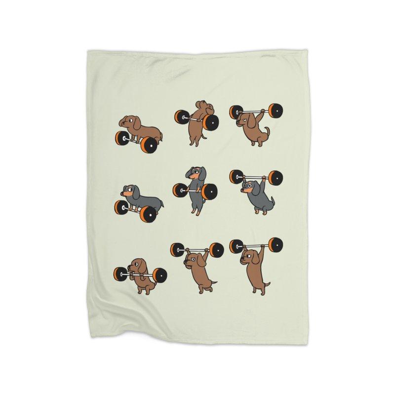 Olympic Lifting Dachshund Home Blanket by huebucket's Artist Shop