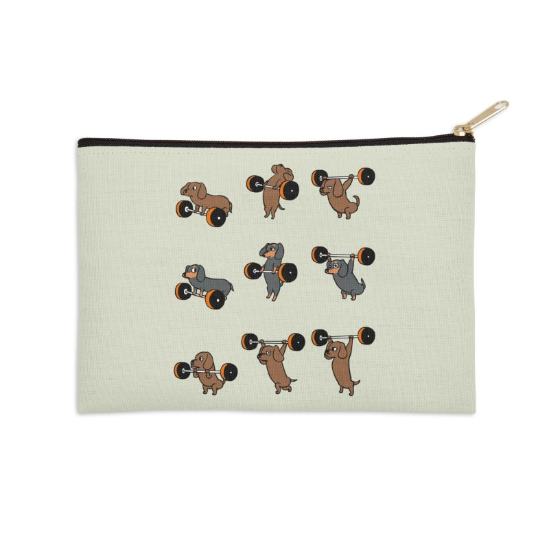 Olympic Lifting Dachshund Accessories Zip Pouch by huebucket's Artist Shop