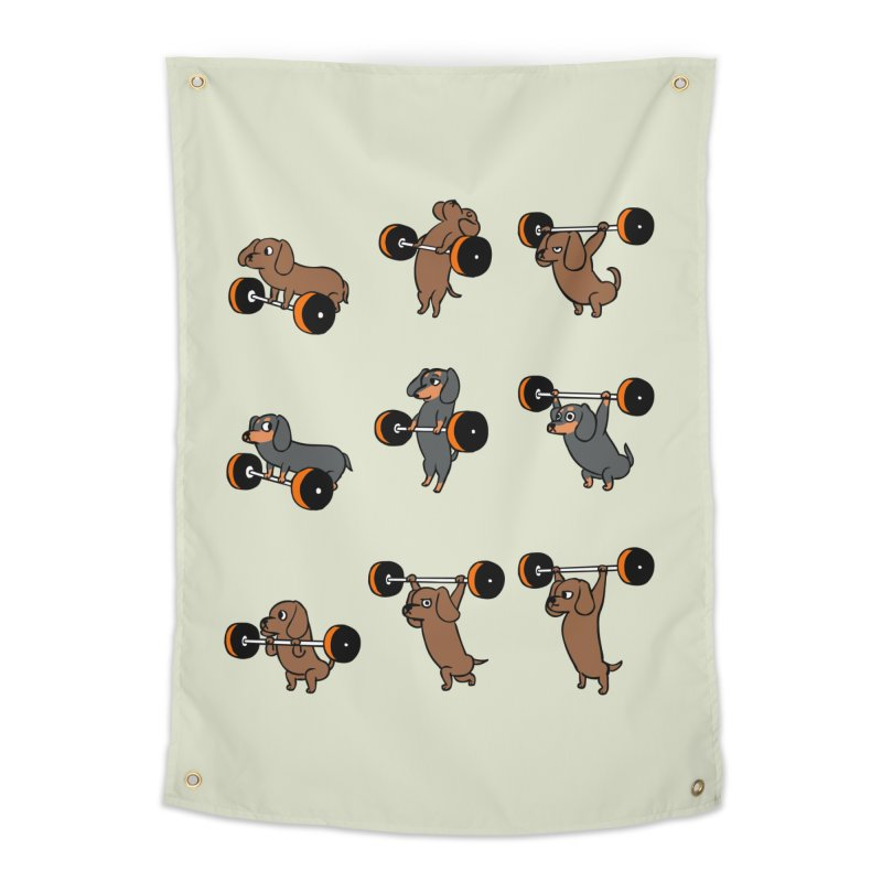 Olympic Lifting Dachshund Home Tapestry by huebucket's Artist Shop