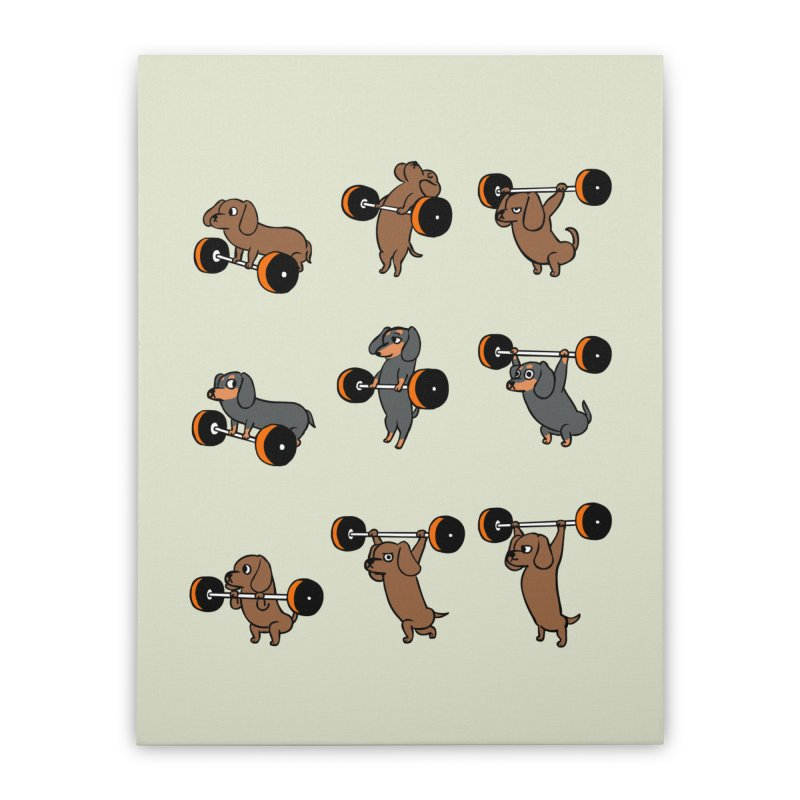 Olympic Lifting Dachshund Home Stretched Canvas by huebucket's Artist Shop