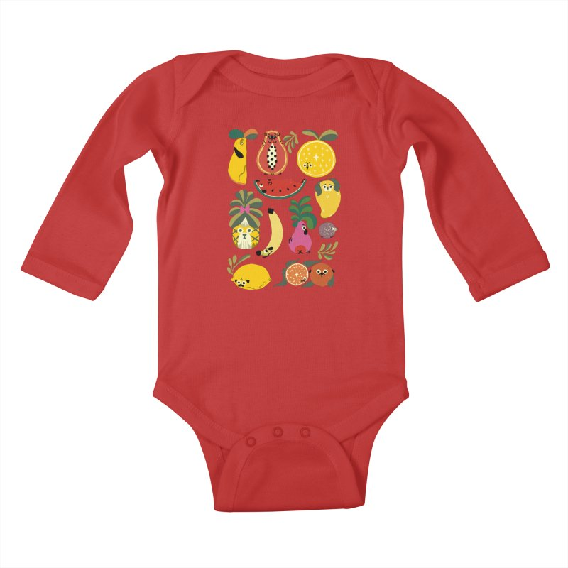 Puppical Fruits Kids Baby Longsleeve Bodysuit by huebucket's Artist Shop