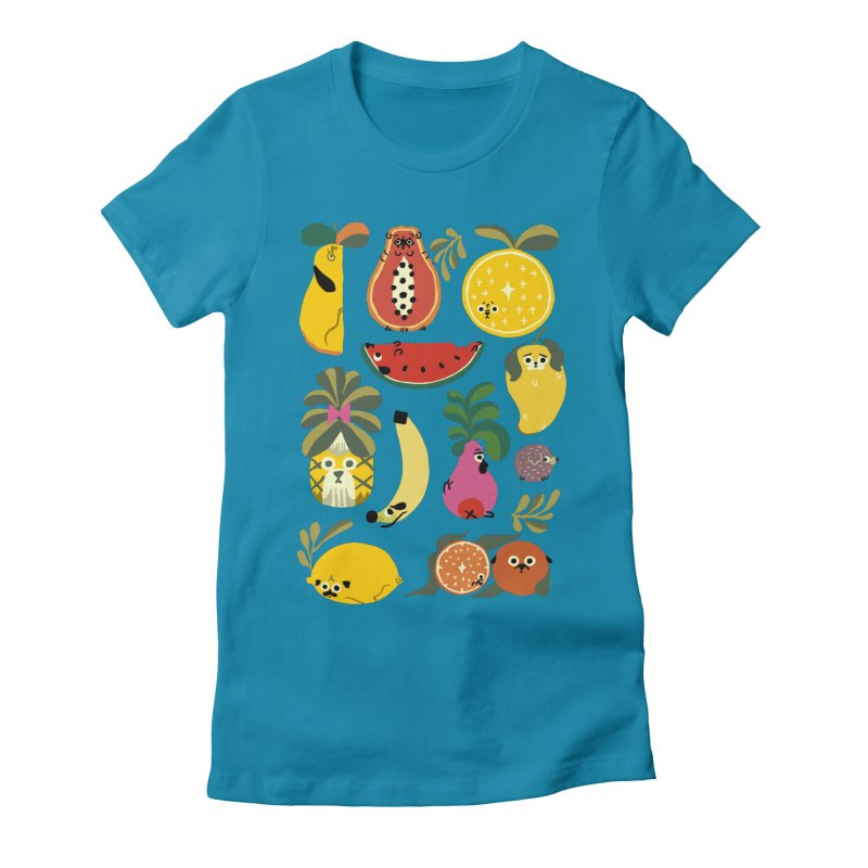 Puppical Fruits Women's Fitted T-Shirt by huebucket's Artist Shop