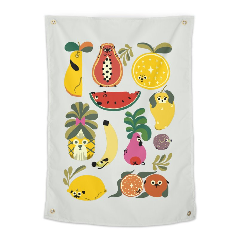 Puppical Fruits Home Tapestry by huebucket's Artist Shop