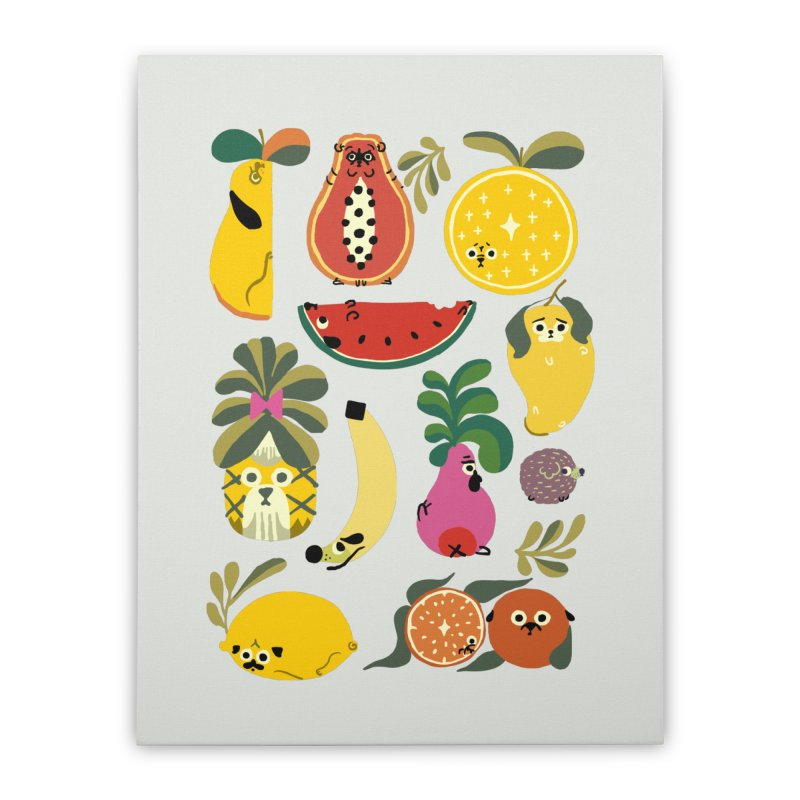 Puppical Fruits Home Stretched Canvas by huebucket's Artist Shop
