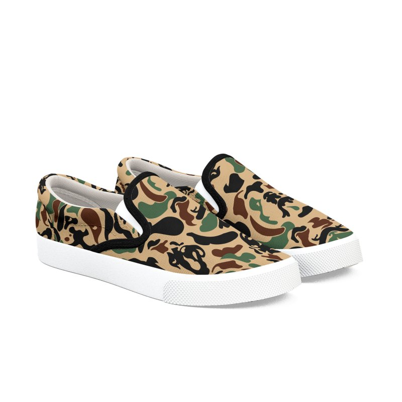 English Bulldog Camouflage Men's Slip-On Shoes by huebucket's Artist Shop