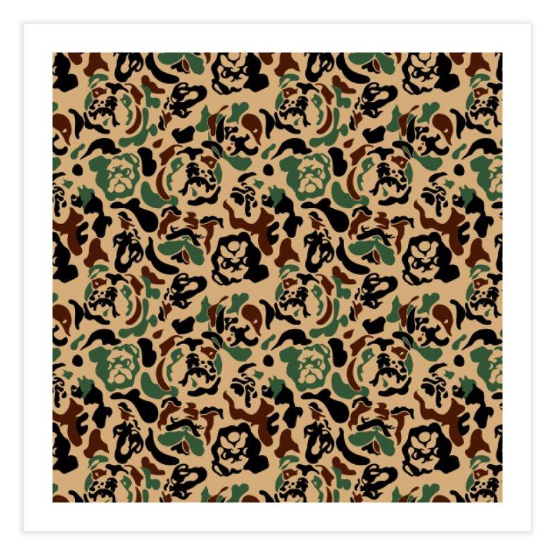 English Bulldog Camouflage Home Fine Art Print by huebucket's Artist Shop