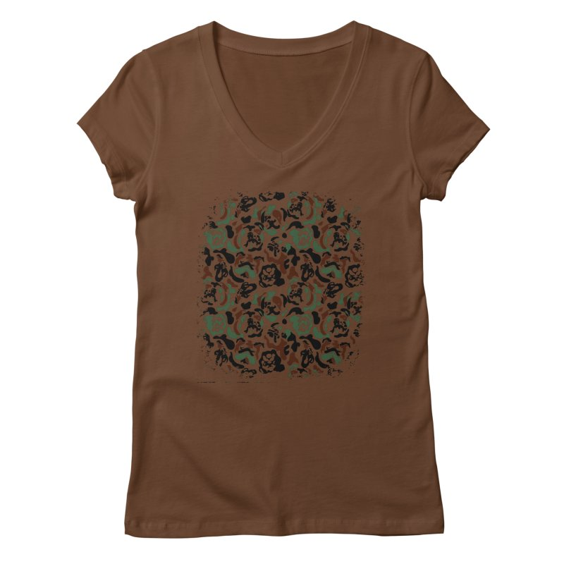 English Bulldog Camouflage Women's V-Neck by huebucket's Artist Shop