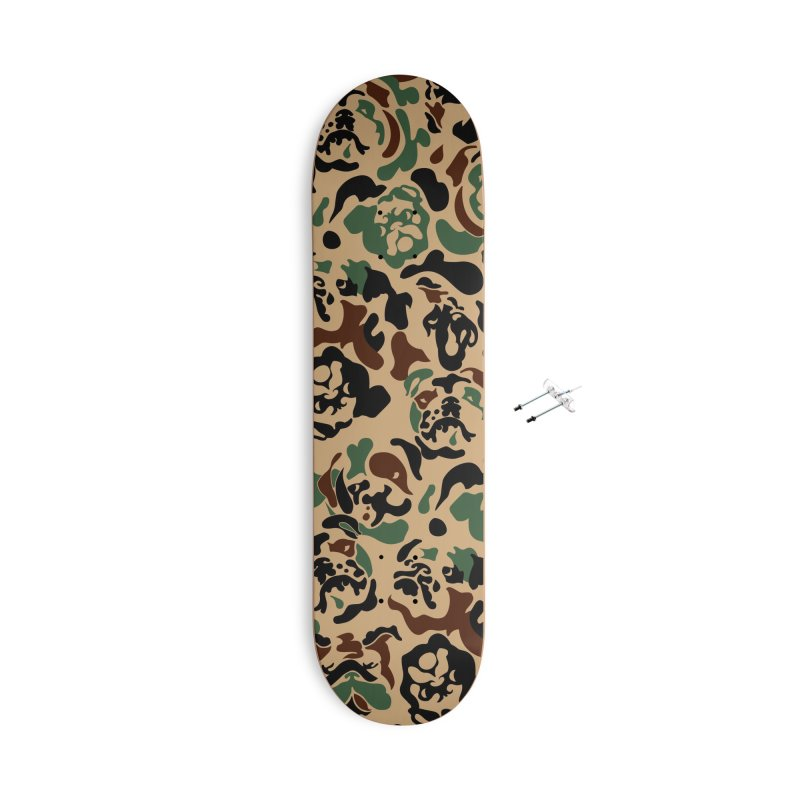 English Bulldog Camouflage Accessories With Hanging Hardware Skateboard by huebucket's Artist Shop