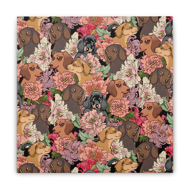 Because Dachshund Home Stretched Canvas by huebucket's Artist Shop