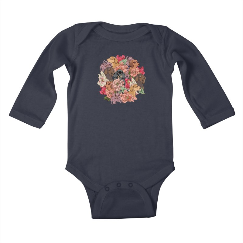 Because Dachshund Kids Baby Longsleeve Bodysuit by huebucket's Artist Shop