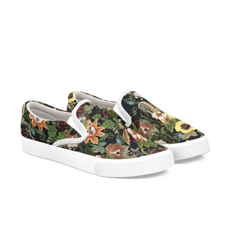 Botanical Puppies Men's Slip-On Shoes by huebucket's Artist Shop