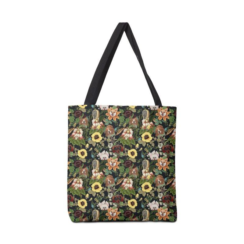 Botanical Puppies Accessories Bag by huebucket's Artist Shop