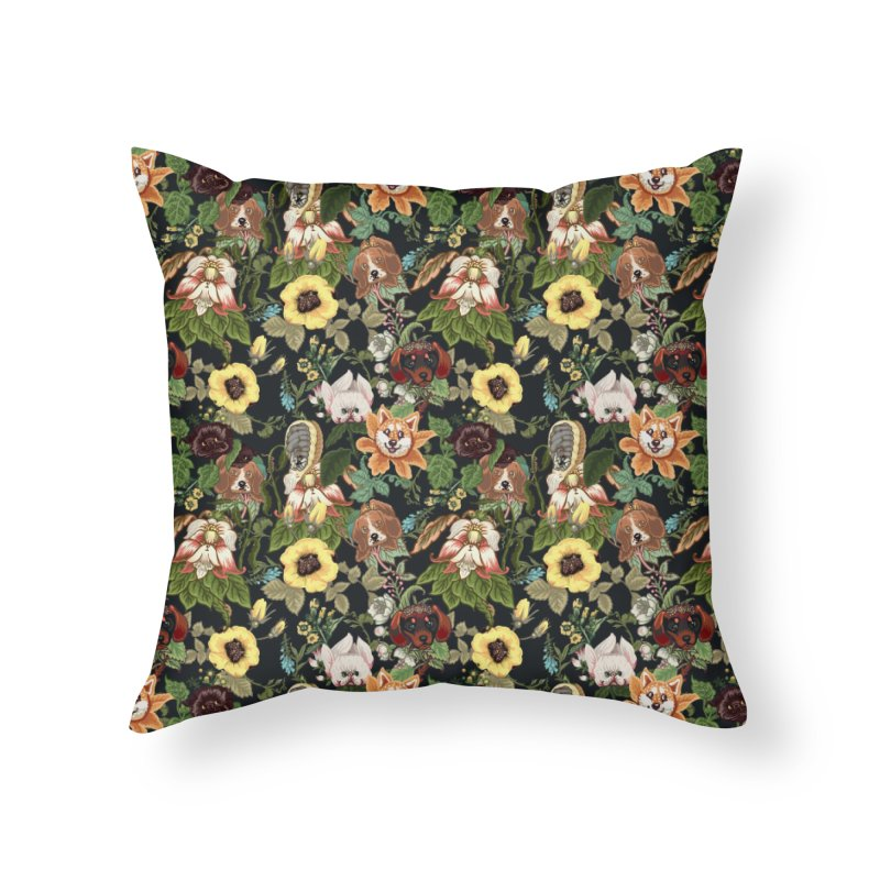Botanical Puppies Home Throw Pillow by huebucket's Artist Shop
