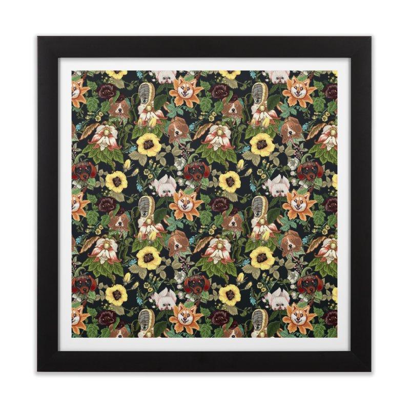 Botanical Puppies Home Framed Fine Art Print by huebucket's Artist Shop