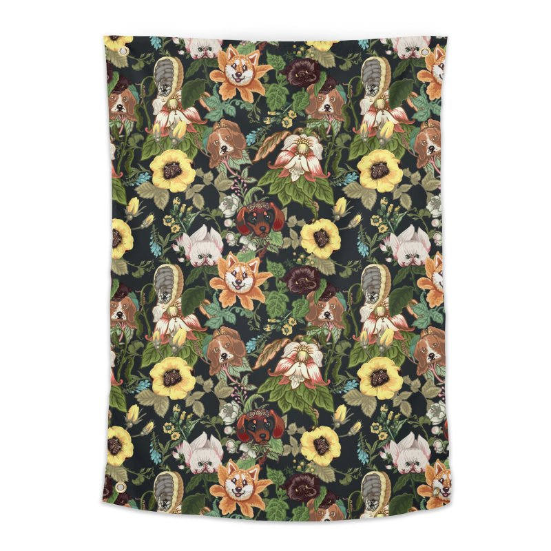 Botanical Puppies Home Tapestry by huebucket's Artist Shop