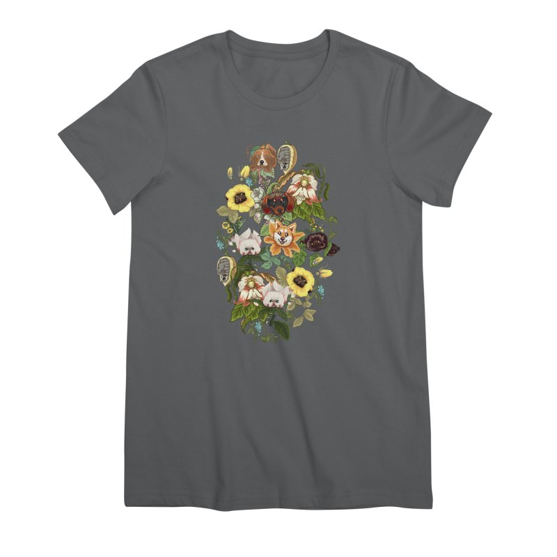 Botanical Puppies Women's Premium T-Shirt by huebucket's Artist Shop