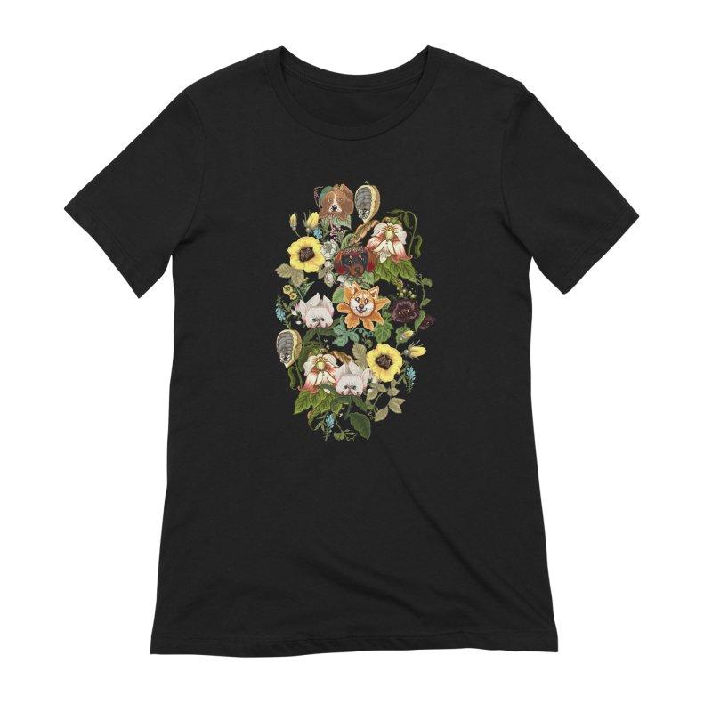 Botanical Puppies Women's Extra Soft T-Shirt by huebucket's Artist Shop