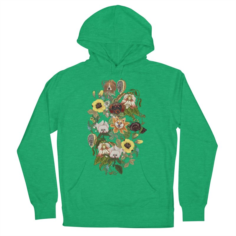 Botanical Puppies Women's French Terry Pullover Hoody by huebucket's Artist Shop