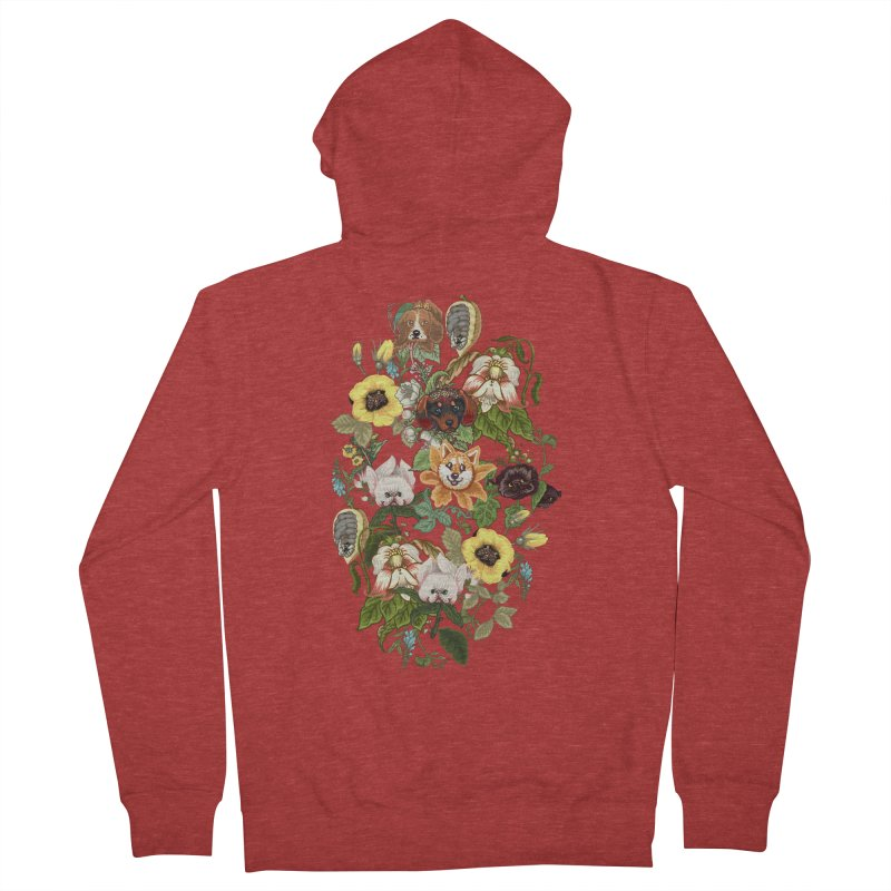 Botanical Puppies Women's French Terry Zip-Up Hoody by huebucket's Artist Shop