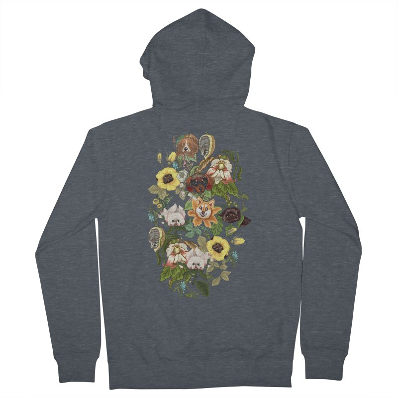 Botanical Puppies Men's French Terry Zip-Up Hoody by huebucket's Artist Shop