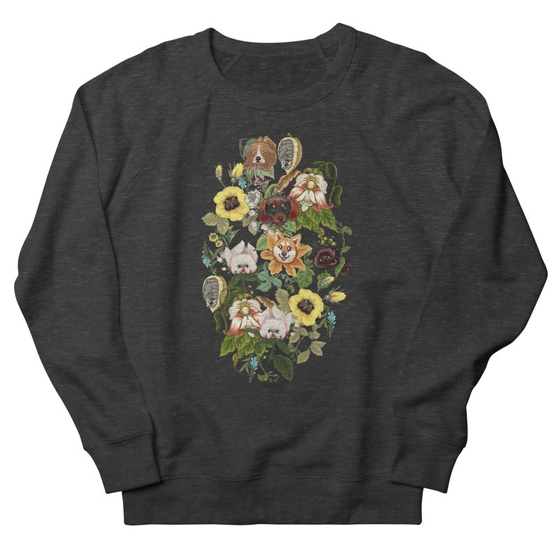 Botanical Puppies Men's French Terry Sweatshirt by huebucket's Artist Shop