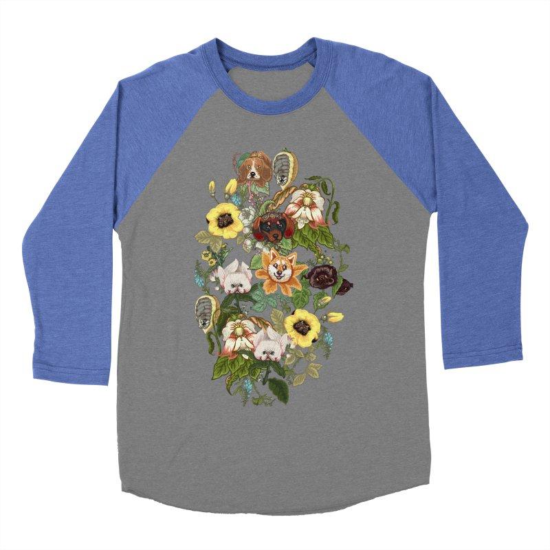 Botanical Puppies Women's Baseball Triblend Longsleeve T-Shirt by huebucket's Artist Shop