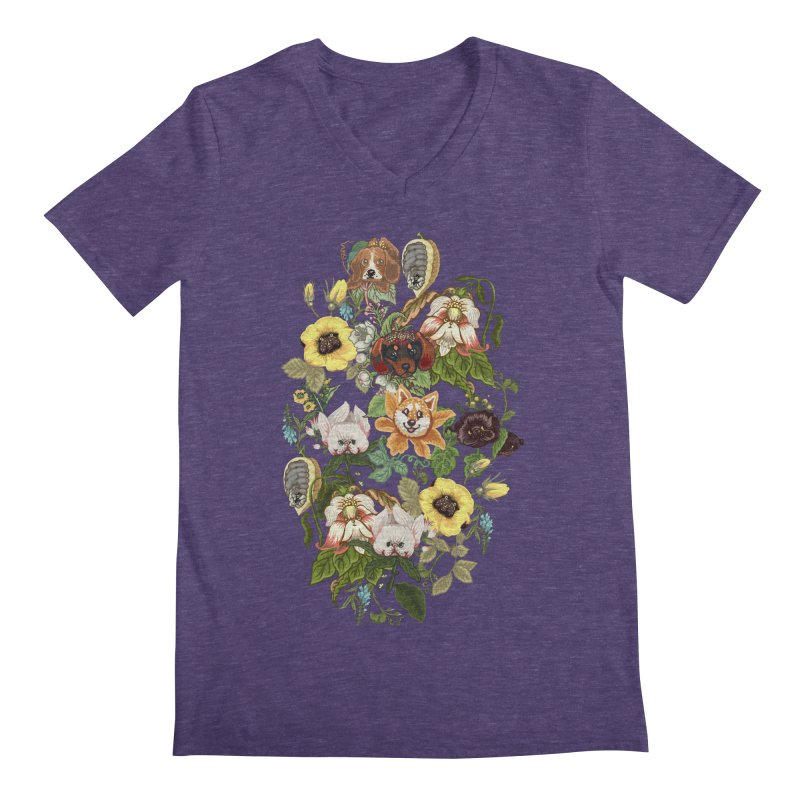 Botanical Puppies Men's Regular V-Neck by huebucket's Artist Shop