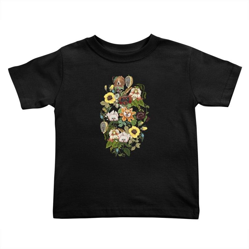 Botanical Puppies Kids Toddler T-Shirt by huebucket's Artist Shop