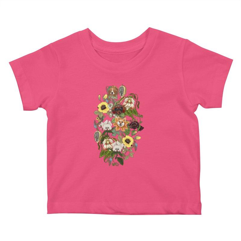 Botanical Puppies Kids Baby T-Shirt by huebucket's Artist Shop
