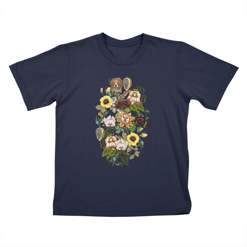 Botanical Puppies Kids T-Shirt by huebucket's Artist Shop