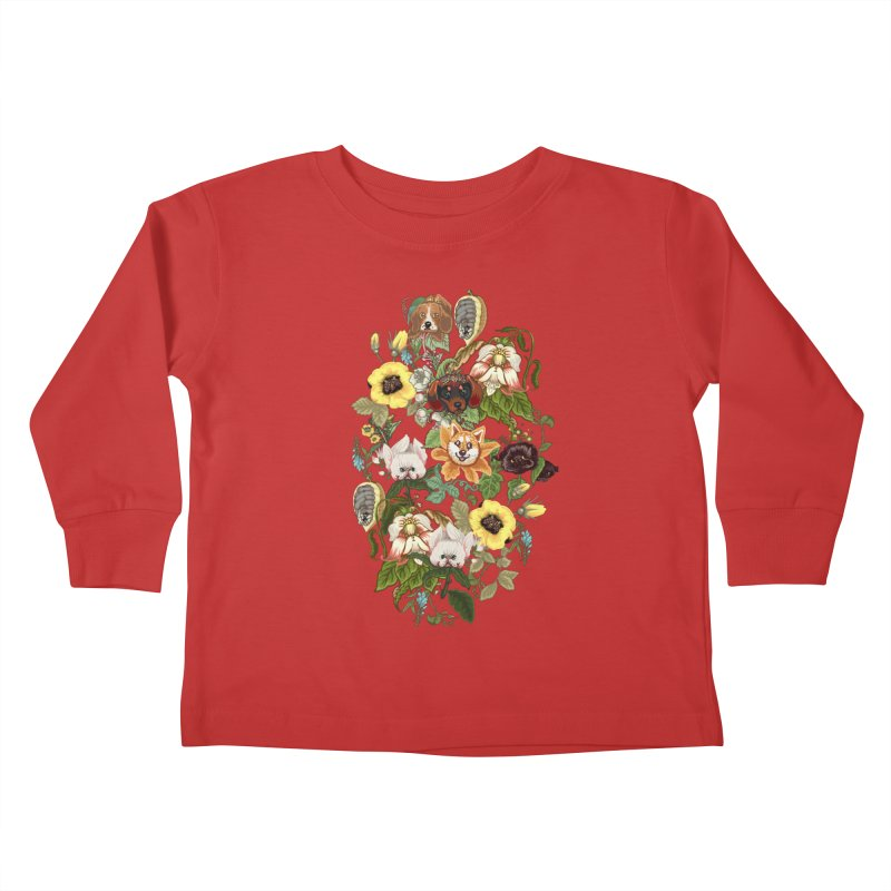 Botanical Puppies Kids Toddler Longsleeve T-Shirt by huebucket's Artist Shop