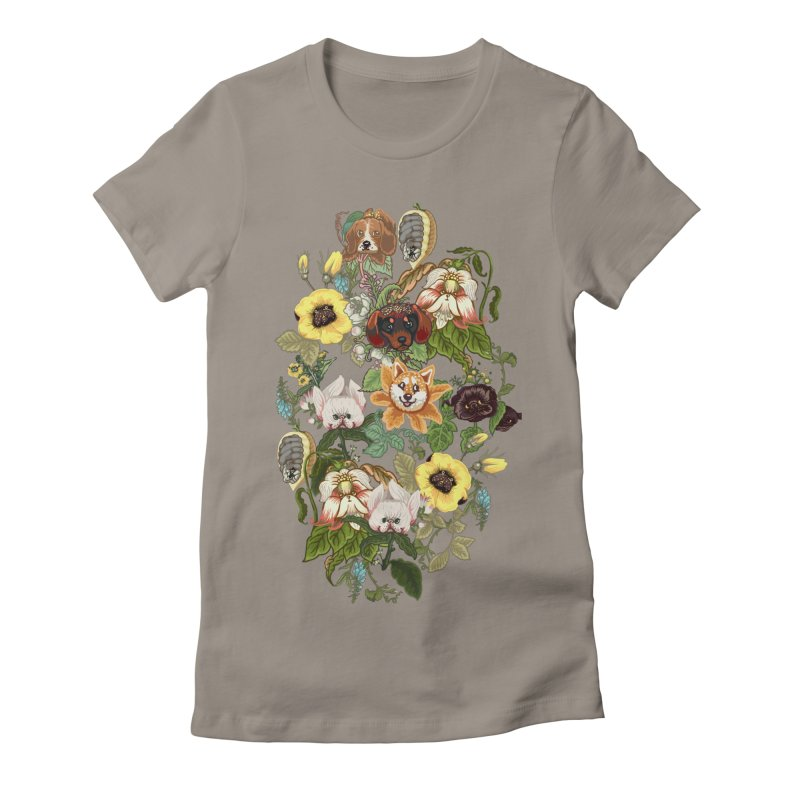 Botanical Puppies Women's Fitted T-Shirt by huebucket's Artist Shop