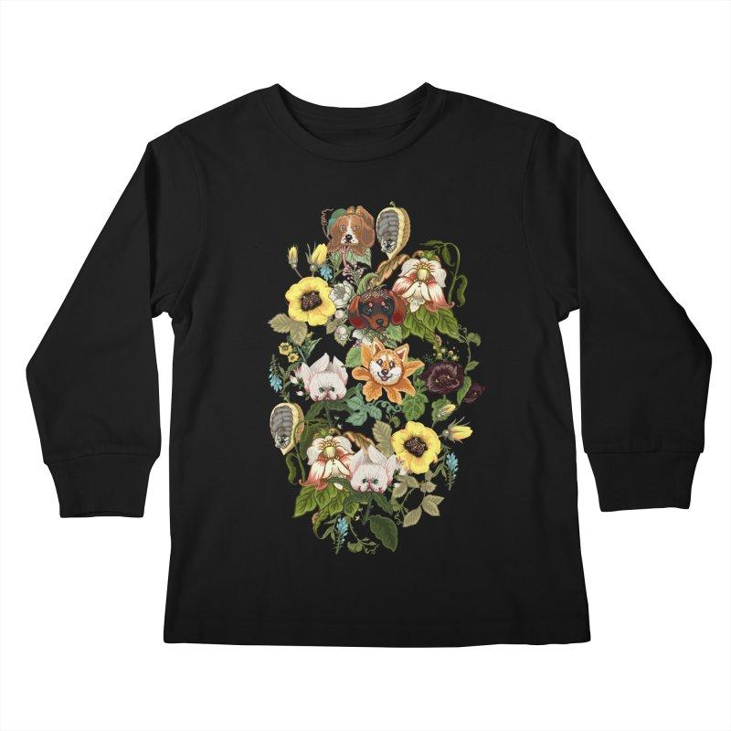 Botanical Puppies Kids Longsleeve T-Shirt by huebucket's Artist Shop