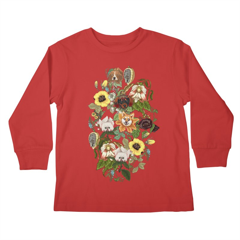 Botanical Puppies Kids Longsleeve T-Shirt by huebucket's Artist Shop