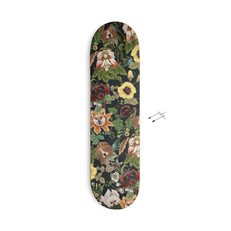 Botanical Puppies Accessories With Hanging Hardware Skateboard by huebucket's Artist Shop