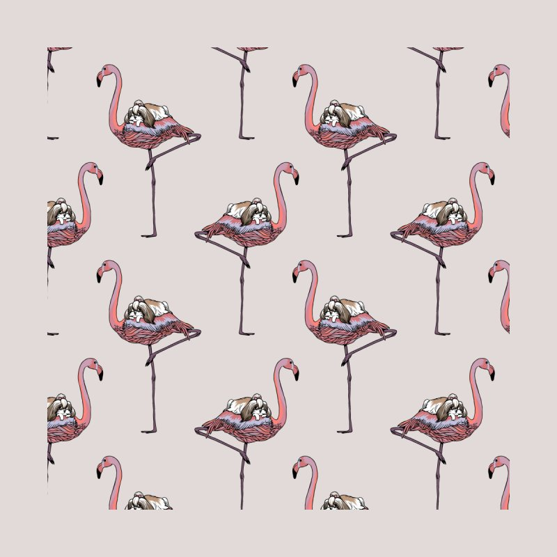 Flamingo and Shih Tzu Accessories Beach Towel by huebucket's Artist Shop